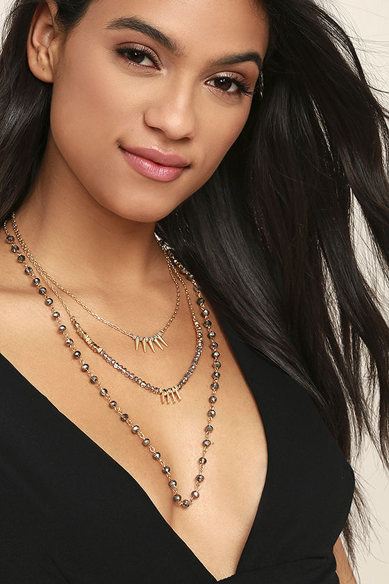 Everlasting Gold and Gunmetal Layered Necklace 1