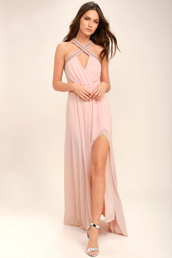 My Love Has Come Along Blush Pink Beaded Maxi Dress 1
