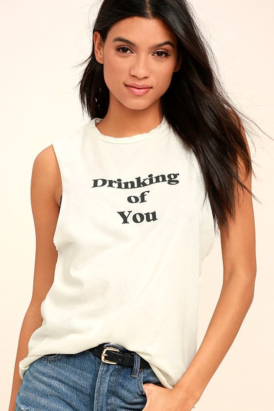 Project Social T Drinking of You Cream Muscle Tee 1