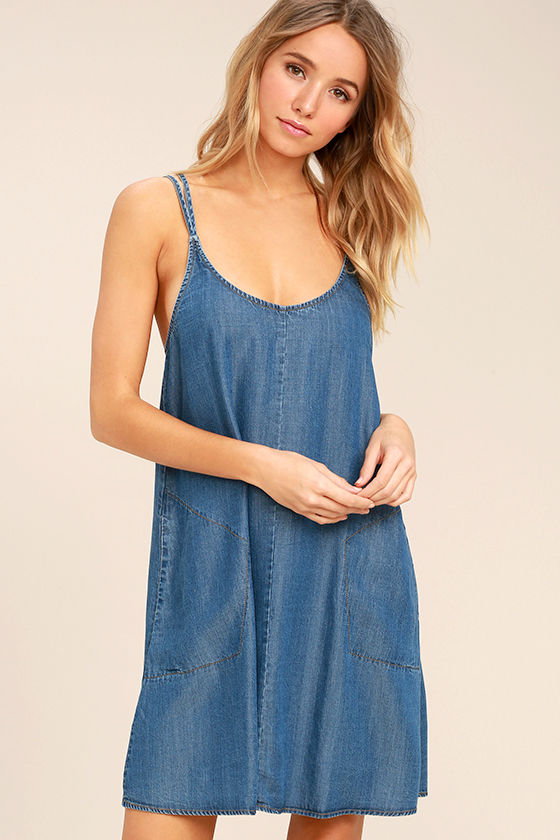 Sing to Me Blue Chambray Swing Dress 1