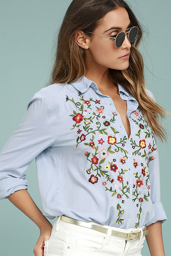 Beautiful Imagery Light Blue Embroidered Button-Up Top 3