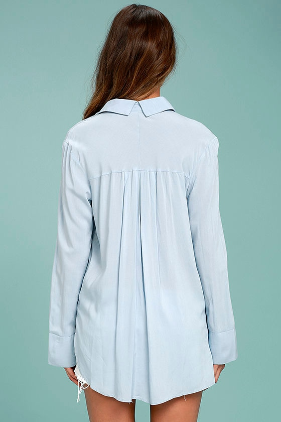 Beautiful Imagery Light Blue Embroidered Button-Up Top 4