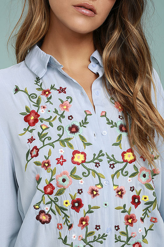 Beautiful Imagery Light Blue Embroidered Button-Up Top 5