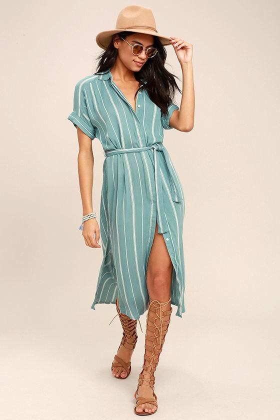 O'Neill Alexandra Turquoise Blue Striped Shirt Dress 1