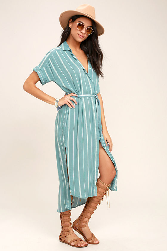 O'Neill Alexandra Turquoise Blue Striped Shirt Dress 2