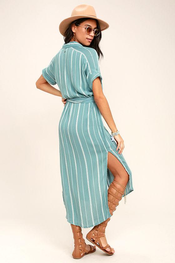 O'Neill Alexandra Turquoise Blue Striped Shirt Dress 3