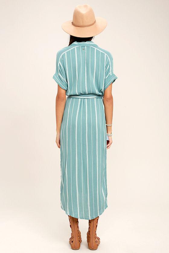 O'Neill Alexandra Turquoise Blue Striped Shirt Dress 4