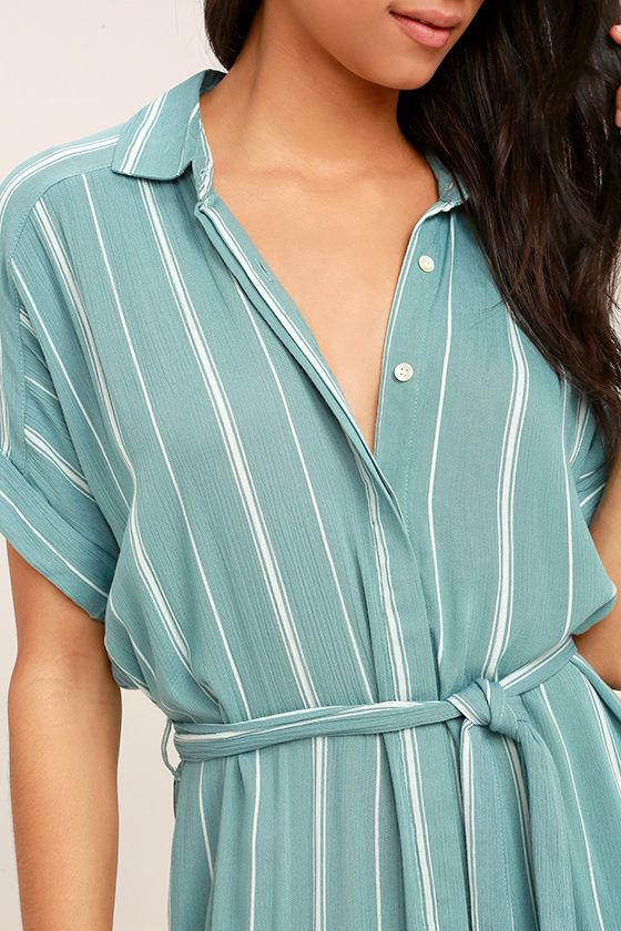 O 39 Neill Alexandra Dress Striped Shirt Dress Turquoise