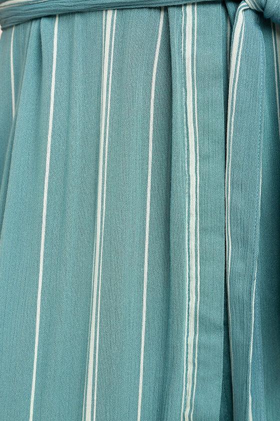 O'Neill Alexandra Turquoise Blue Striped Shirt Dress 6