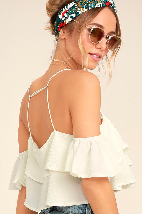 Filled with Surprises Cream Off-the-Shoulder Crop Top 1
