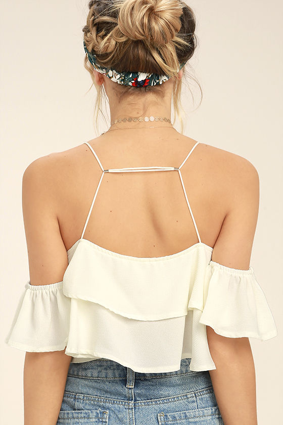 Filled with Surprises Cream Off-the-Shoulder Crop Top 4