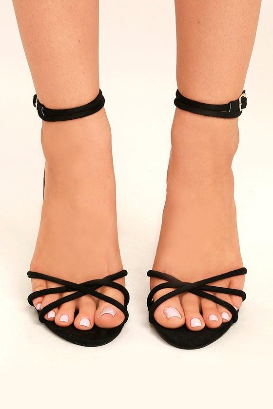 Damita Black Suede Ankle Strap Heels 2