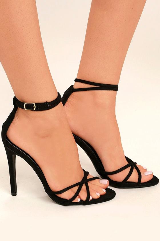 Damita Black Suede Ankle Strap Heels 3