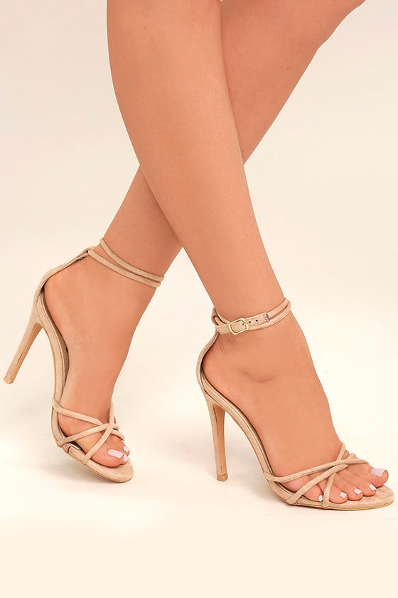 Sexy Nude Ankle Strap Heels - Vegan Suede Heels - Nude Single Sole ...