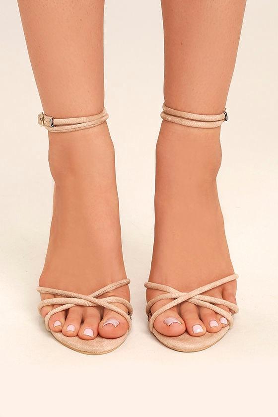 Damita Nude Suede Ankle Strap Heels 2