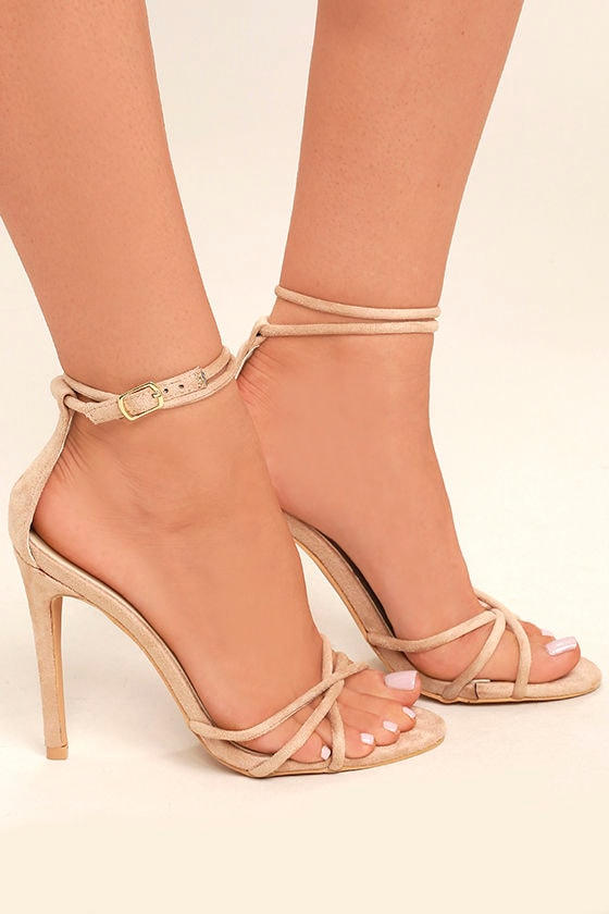 Damita Nude Suede Ankle Strap Heels 3