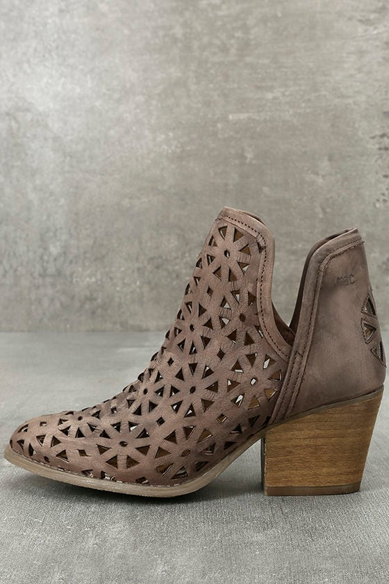 d704a2bf2 Musse & Cloud Athena - Dark Brown Booties - Leather Booties - Cutout Booties  - $139.00