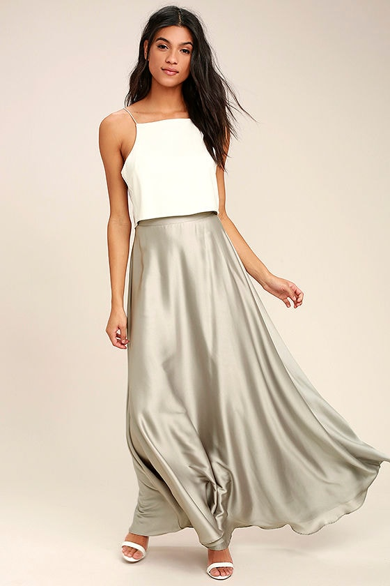 Lovely Light Grey Skirt Satin Skirt Maxi Skirt 62 00
