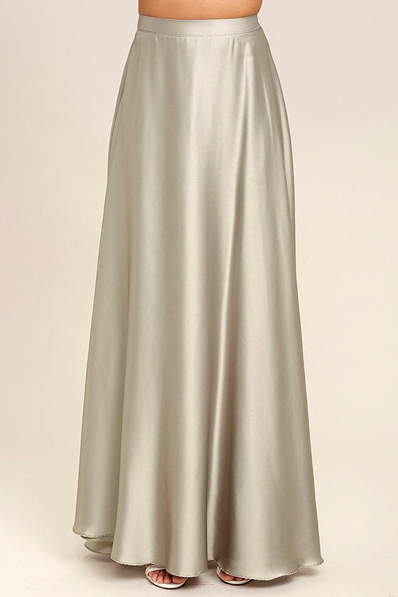 Picture Perfect Light Grey Satin Maxi Skirt 3