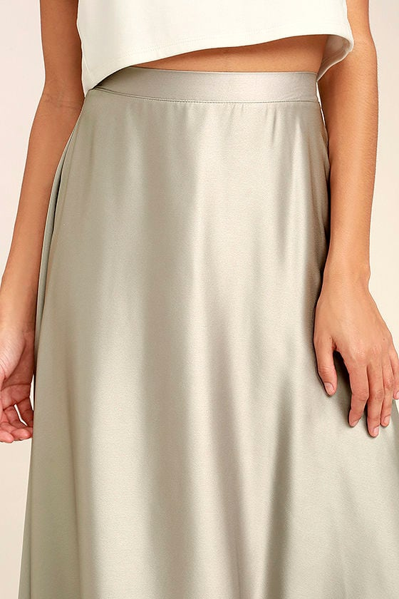 Picture Perfect Light Grey Satin Maxi Skirt 5