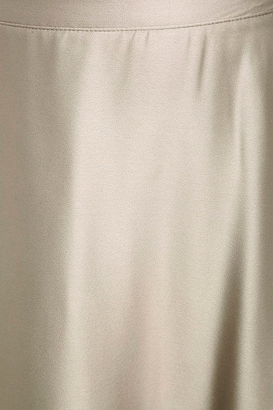 Picture Perfect Light Grey Satin Maxi Skirt 6