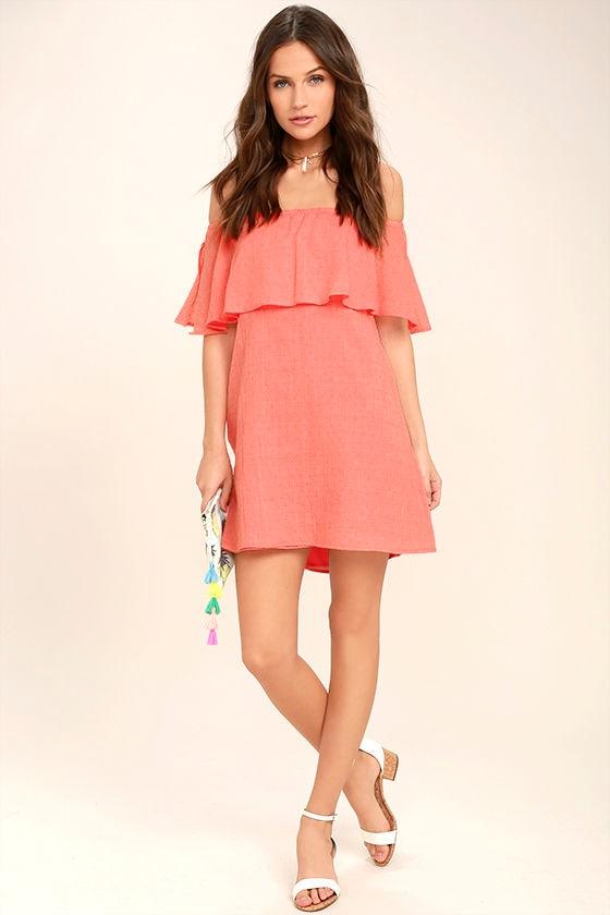 Hello Sunshine Coral Orange Off-the-Shoulder Dress 2