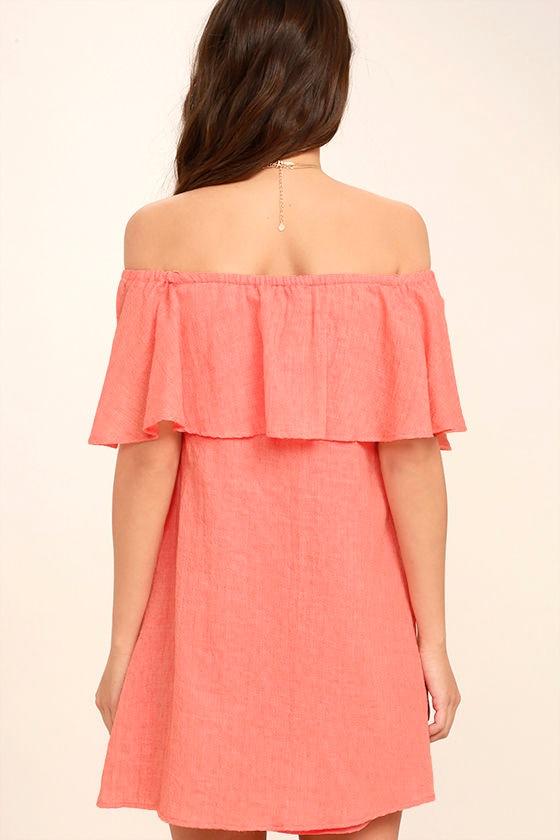 Hello Sunshine Coral Orange Off-the-Shoulder Dress 4