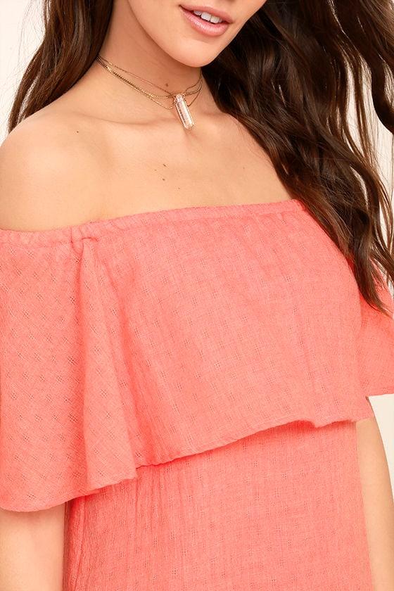 Hello Sunshine Coral Orange Off-the-Shoulder Dress 5