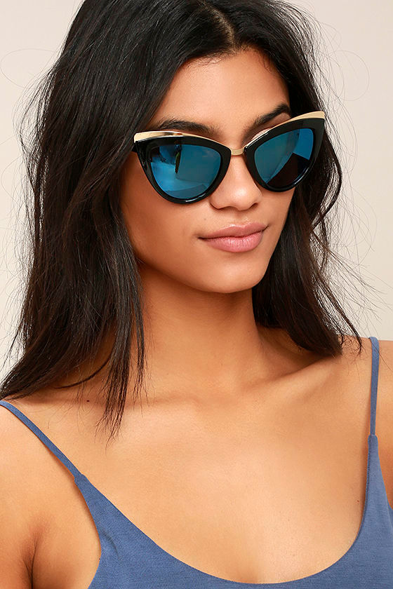 Tasty Black and Blue Mirrored Cat-Eye Sunglasses 1
