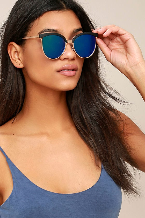 Song and Glance Black and Blue Mirrored Cat-Eye Sunglasses 1
