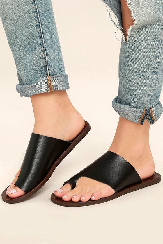 17925e0318d Blowfish Dalla Sandals - Black Slide Sandals - Toe Loop Sandals -  42.00