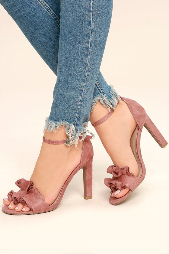 Idola Mauve Suede Ankle Strap Heels 1