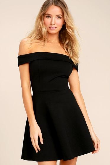 c62ccd4fee5 Cute Black Dress - Off-the-Shoulder Dress -LBD- Skater Dress