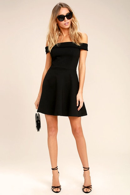 K'Mich Weddings - wedding planning - bridesmaids dresses - SEASON OF FUN BLACK OFF-THE-SHOULDER SKATER DRESS - lulus