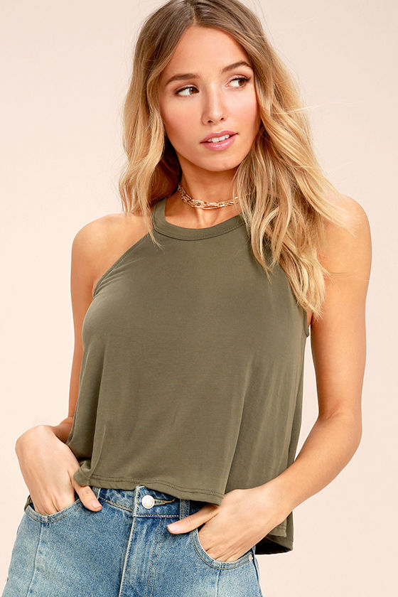 Zest for Life Olive Green Crop Top 1