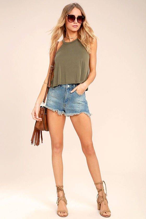 Zest for Life Olive Green Crop Top 2