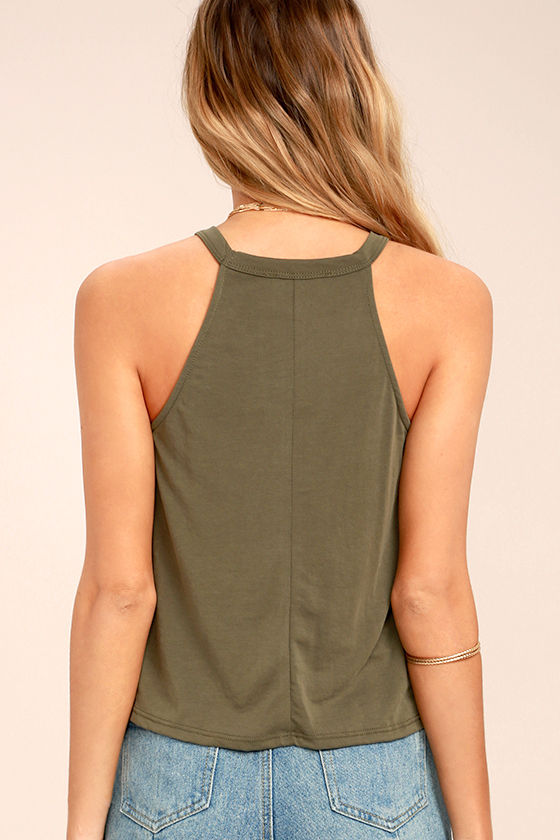 Zest for Life Olive Green Crop Top 4