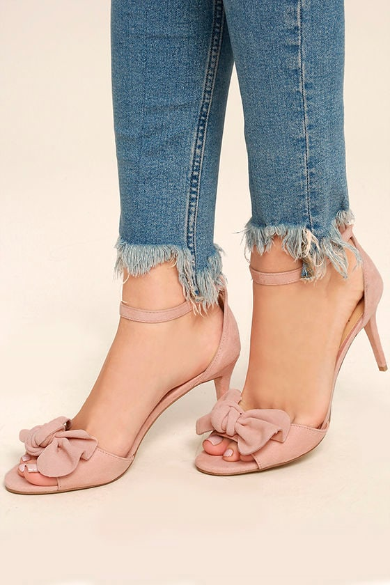 Daya by Zendaya Simms Blush Suede Leather Ankle Strap Heels 1