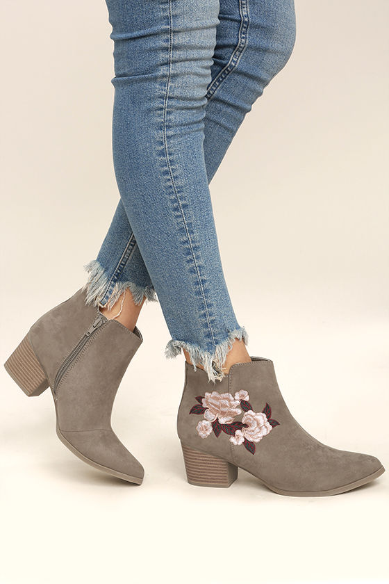 Feronia Taupe Suede Embroidered Ankle Booties 2
