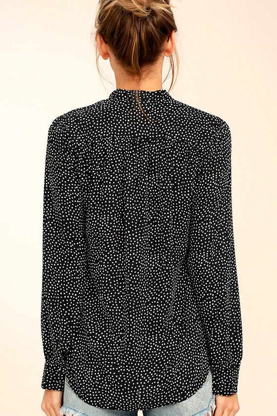 On the Spot Black Polka Dot Button-Up Top 4