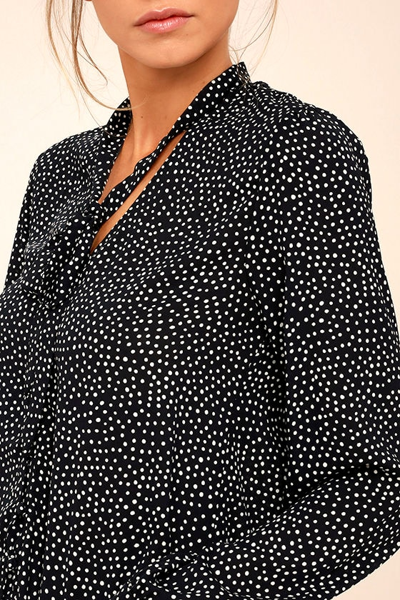 On the Spot Black Polka Dot Button-Up Top 5