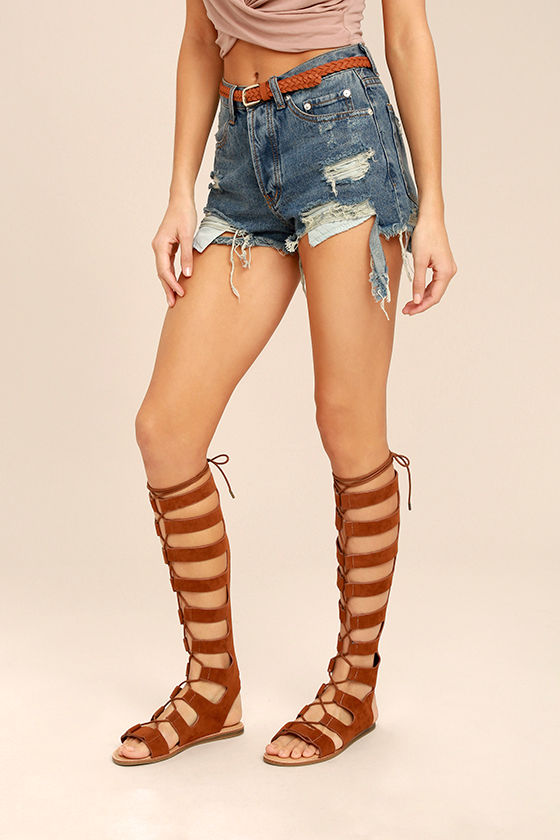 Hasna Chestnut Brown Suede Tall Gladiator Sandals 1