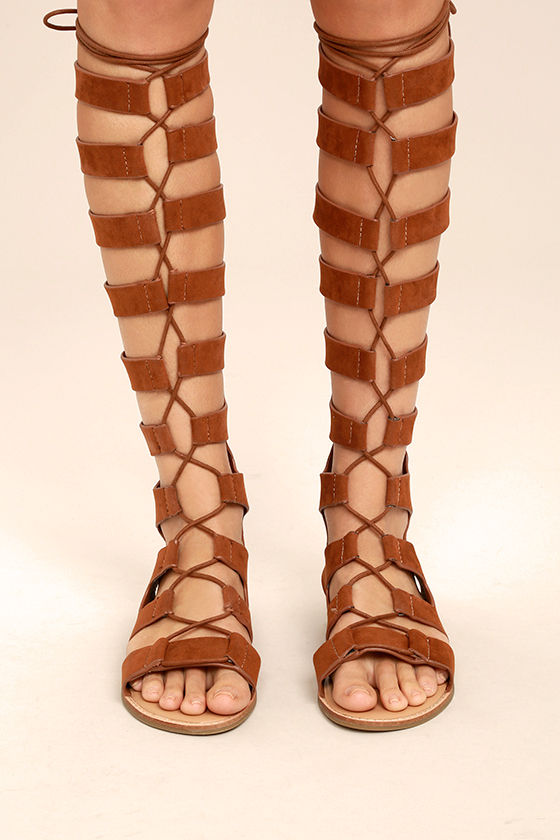 c51148b5fdd4 Boho Gladiator Sandals - Brown Tall Gladiator Sandals - Lace-Up Flat Sandals  -  48.00