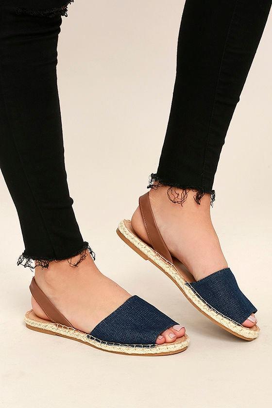 Cute Blue Denim Sandals - Espadrille Sandals