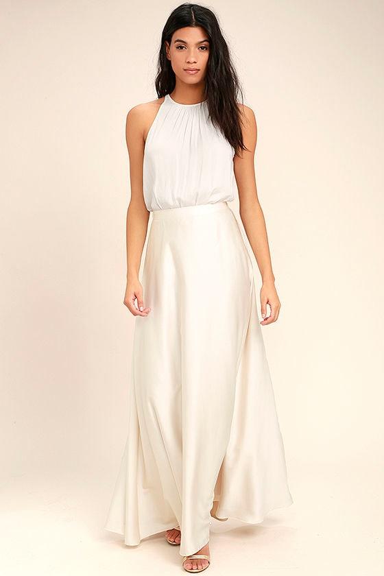 9e66b950bc Lovely Cream Skirt - Satin Skirt - Maxi Skirt - $62.00