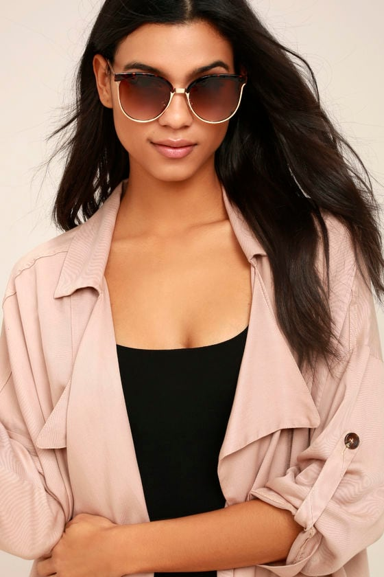 Song and Glance Tortoise and Brown Mirrored Cat-Eye Sunglasses 1