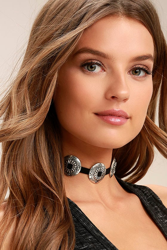 Just Call My Name Silver and Black Choker Necklace 1