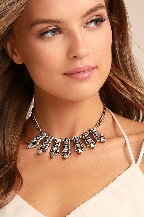 Take a Chance Gold Rhinestone Choker Necklace 1