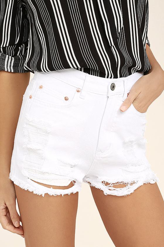 Wreck-Reational Activity White Destroyed Denim Shorts 1