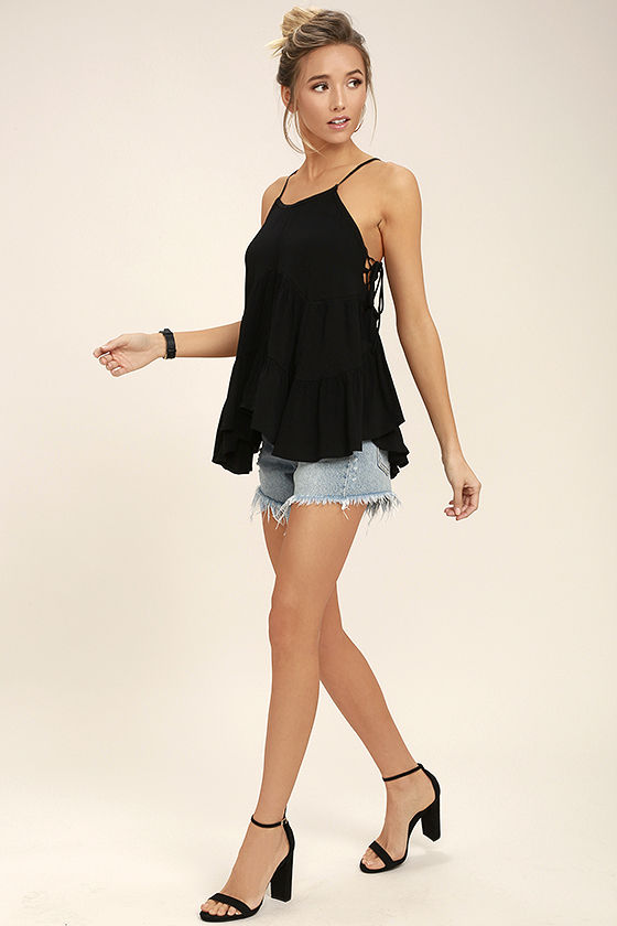 Breathe Easily Black Lace-Up Top 2